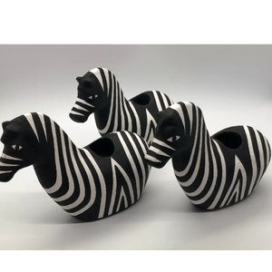 Zebra Candle Holders For Taper Candles Set Of 3